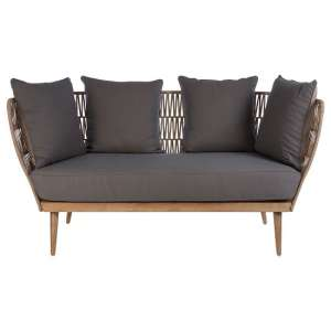 Druid Wooden Three Seater Sofa With Grey Upholstered Seat