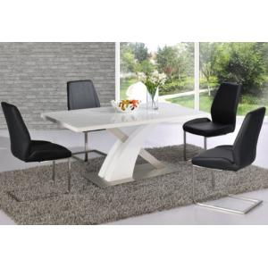 Avici Y Shaped High Gloss White Dining Table And 6 Chairs
