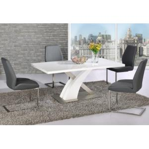 Avici Y Shaped High Gloss White Dining Table And 6 Dining Chairs