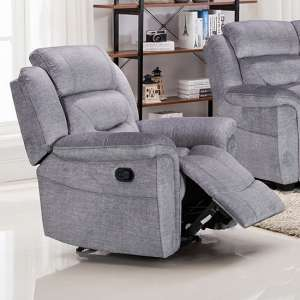 Dudley Fabric Upholstered Recliner Chair In Nett Grey