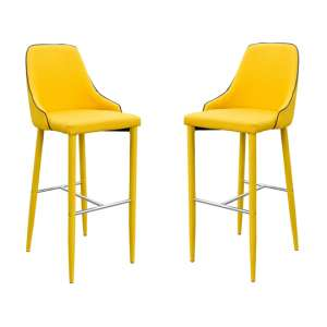Duncan Yellow Fabric Bar Stool In Pair