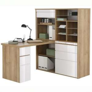 Dundas Computer Desk In Rivera Oak and White High Gloss