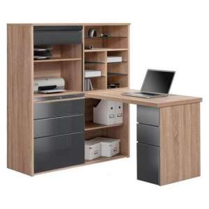 Dundas Computer Desk In Sonoma Oak and Grey High Gloss