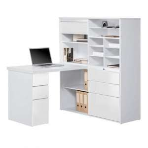 Dundas Wooden Computer Desk In White High Gloss