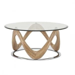 Dunic Glass Coffee Table Round In Sonoma Oak And Chrome