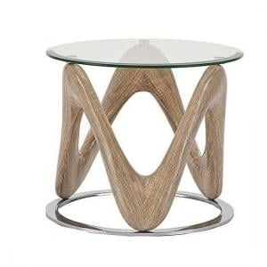 Dunic Glass Lamp Table Round In Sonoma Oak And Chrome