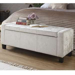 Dunston Crushed Velvet Ottoman Storage Blanket Box In Oyster