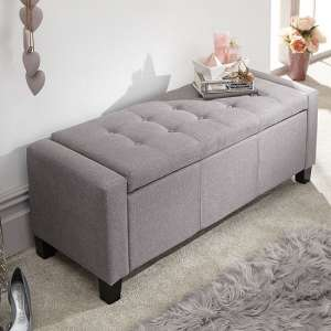 Dunston Fabric Ottoman Storage Blanket Box In Grey