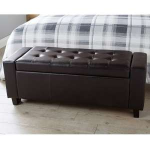 Dunston Faux Leather Ottoman Storage Blanket Box In Brown