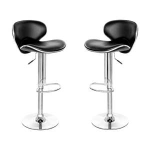 Duo Retro Black Leather Bar Stool In Pair