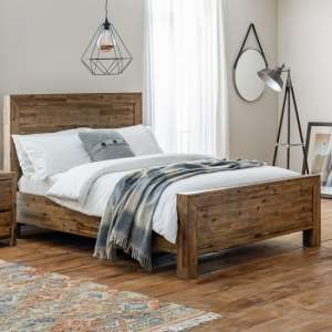 Durket Wooden Solid Acacia Bed In Rustic Oak Finish