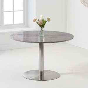 Dutra Round Marble Table In Grey Gloss With Metal Base