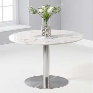 Dutra Round Marble Table In White Gloss With Metal Base