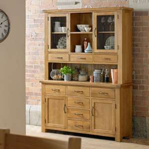 Earls Wooden Extra Large Display Cabinet In Chunky Solid Oak
