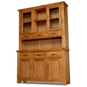 Earls Wooden Large Display Cabinet In Chunky Solid Oak