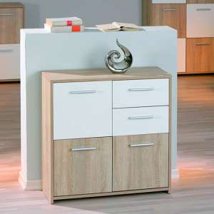 Eboli Wooden Dresser In Sonoma Oak With 3 Doors And 2 Drawers