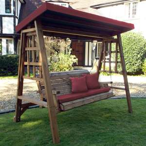 Ecaso Dorset 3 Seater Swing In Burgundy