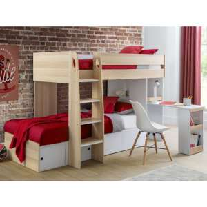 Eclipse Wooden Bunk Bed In Scandinavian Oak And White