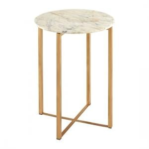 Ecran Marble Top Side Table In White With Gold Frame