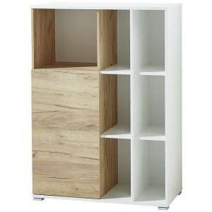 Effie Small Filing Storage Cabinet In White And Navarra Oak