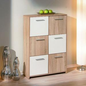Egadi 6 Door 6 shelves Sanoma Oak And White Finish Sideboard