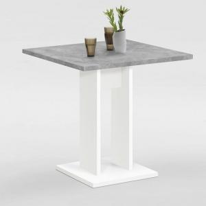 Eiffel Wooden Dining Table Square In Light Atelier And White