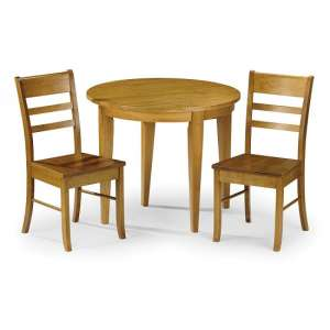 Elbeni Round Dining Table In Honey Pine With Two Chairs