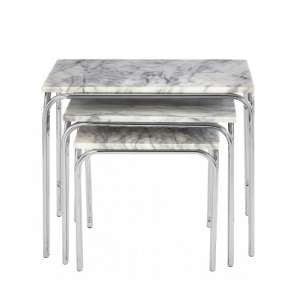 Electra Marble Effect Nest Of 3 Tables In White And Chrome