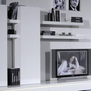 Elisa Wall Mounted Display Unit In White Lacquer With Shelves