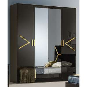Elegance Wardrobe In Black High Gloss And Gold With 4 Doors