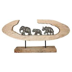 Elephant Family Aluminium Sculpture In Bronze With Wooden Frame