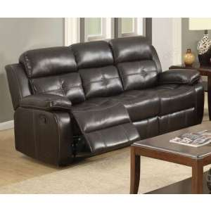 Elessia Reclining 3 Seater Sofa In Dark Brown Faux Leather