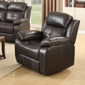 Elessia Reclining Sofa Chair In Dark Brown Faux Leather