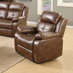 Elessia Reclining Sofa Chair In Tan Faux Leather