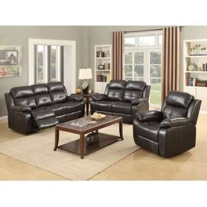 Elessia Reclining Sofa Suite In Dark Brown Faux Leather