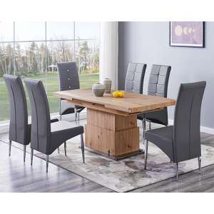 Elgin Convertible Sonoma Oak Dining Table With 6 Vesta Grey Chairs