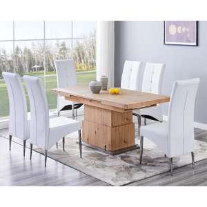 Elgin Convertible Sonoma Oak Dining Table With 6 Vesta White Chairs
