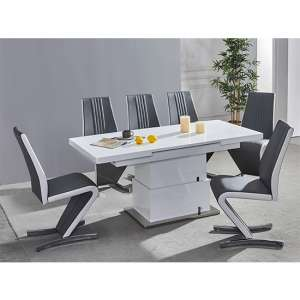 Elgin Convertible White Gloss Dining Table 6 Grey White Chairs