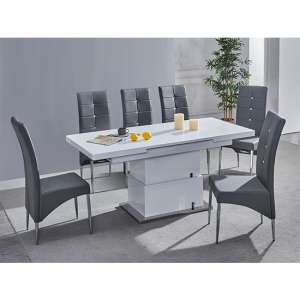 Elgin Convertible White Gloss Dining Table With 6 Grey Chairs