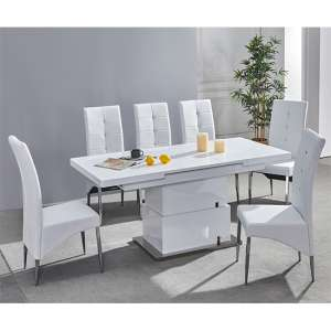 Elgin Convertible White Gloss Dining Table With 6 White Chairs