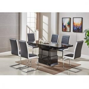 Elgin Convertible Extendable Black Dining Table 6 Symphony Chair