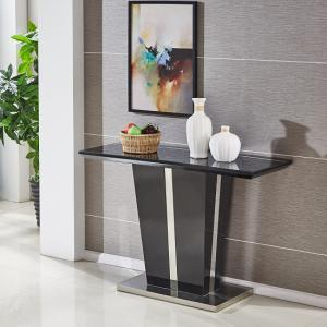Memphis Console Table In Black High Gloss With Glass Top