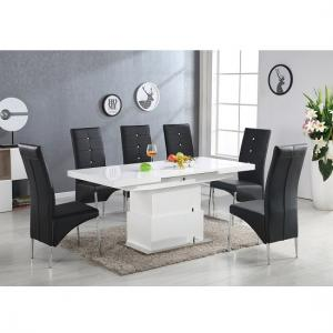 Elgin 6 Seater High Gloss Convertible Extendable Dining Set