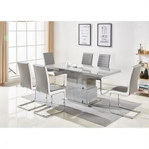 Elgin Convertible Extendable Grey Dining Table 6 Symphony Chairs