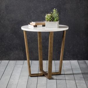 Eliana Round Marble Side Table In White With Gold Metal Legs
