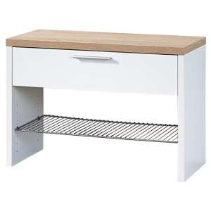 Elina Shoe Storage Bench In White And Sonoma Oak