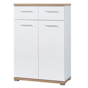 Elina Wooden Shoe Storage Cabinet White In Sonoma Oak