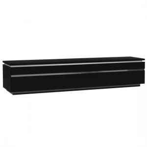 Elisa Contemporary LCD TV Stand In Black Lacquer With Lights