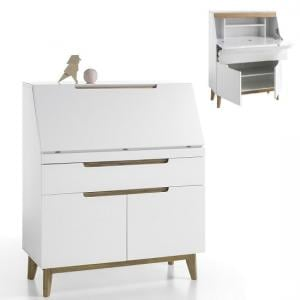 Merina Laptop Desk In Matt White And Knotty Oak With Storage