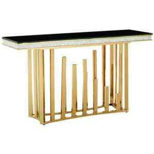 Elizak Black Glass Console Table With Gold Metal Legs